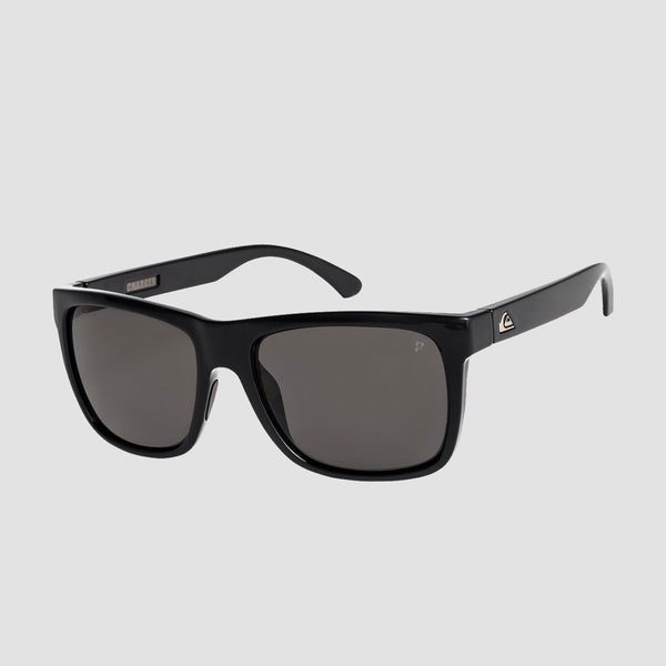 Quiksilver Charger Sunglasses Shiny Black/Polarised Grey