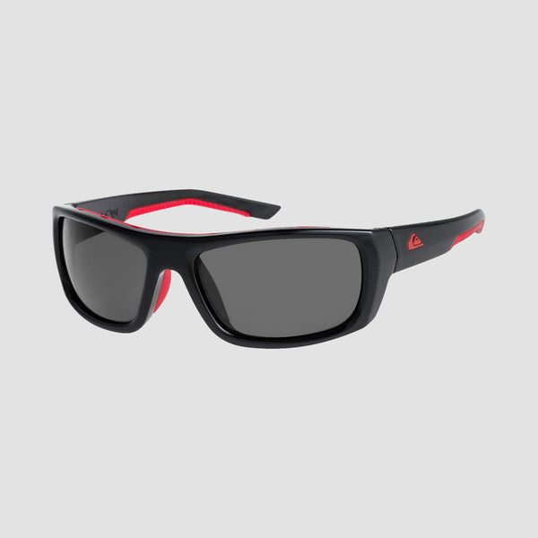 Quiksilver Knockout Sunglasses Shiny Black/Red/Grey
