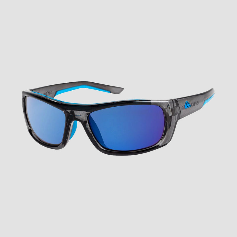 Quiksilver Knockout Sunglasses Shiny Crystal Smoke/Flash Blue