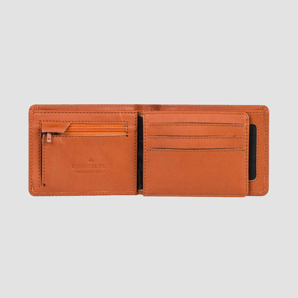 Quiksilver Mack X Leather Bi-Fold Wallet Brown