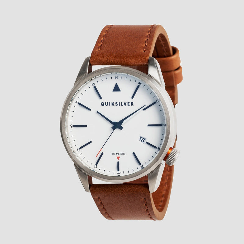 Quiksilver The Timebox 42 Leather Watch Silver/White/Brown