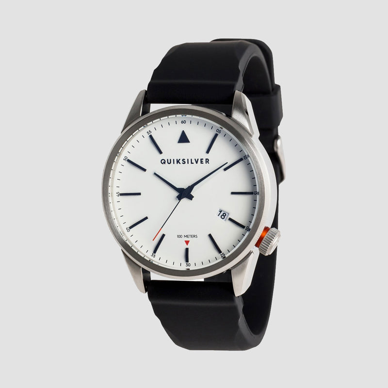 Quiksilver The Timebox 42 Silicone Watch Silver/White/Black