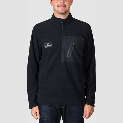 Quiksilver Waterman Hidden View Mock Neck Half-Zip Fleece Black