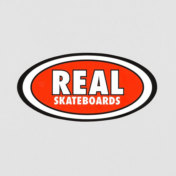 Real Oval Classic Sticker Red 190mm x 95mm - Skateboard