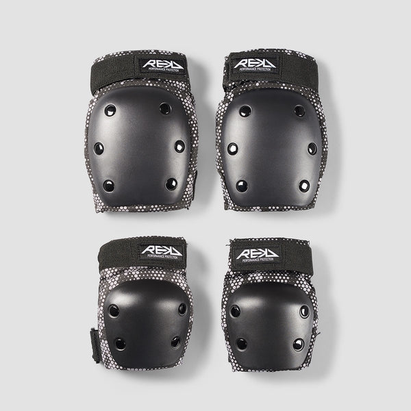 REKD Heavy Duty Double Pad Set Black/Grey - Kids - Safety Gear
