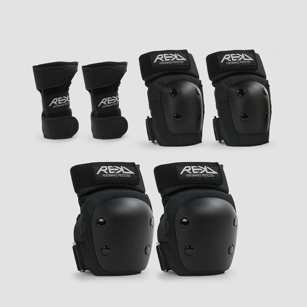 REKD Junior Heavy Duty Triple Pad Set Black - Kids