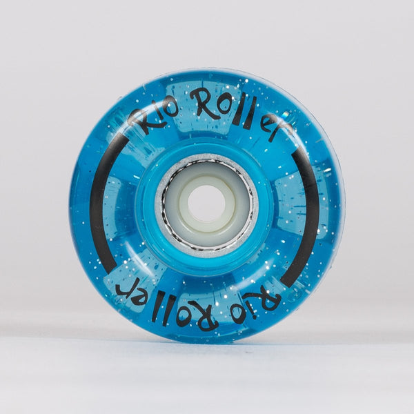 Rio Roller Light Up Wheels x4 Blue Glitter 54mm - Skates