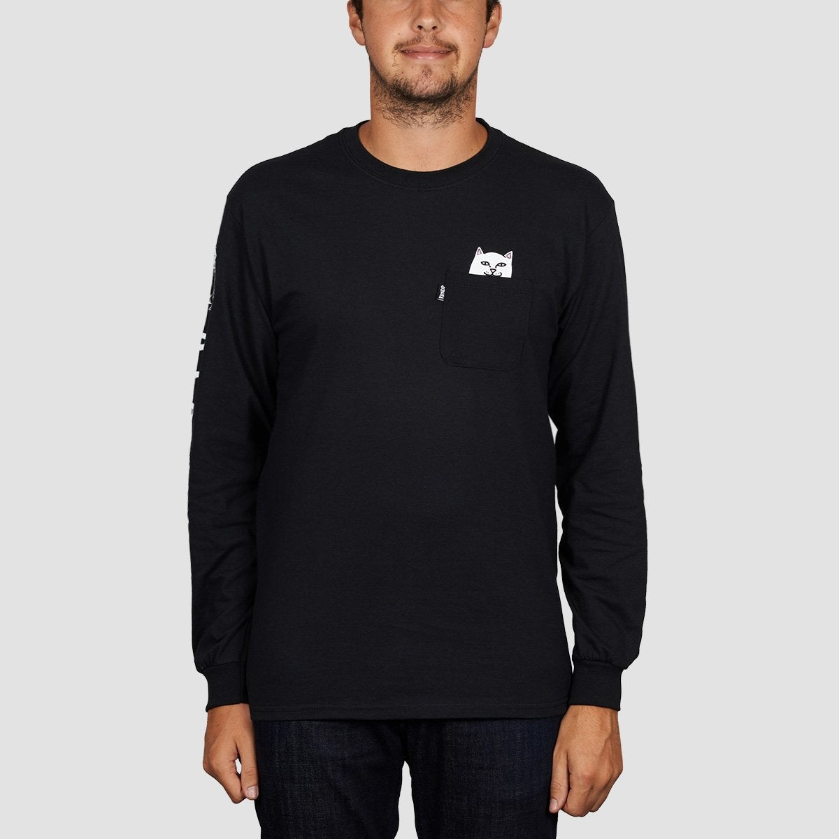 Ripndip Lord Nermal Longsleeve Pocket Tee Black - Clothing