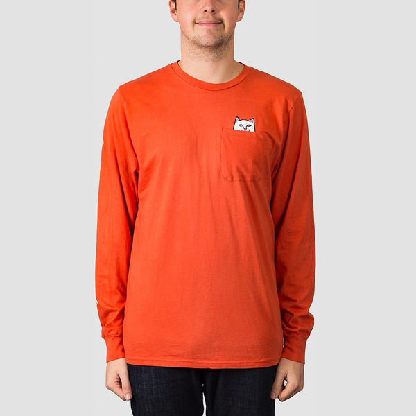 Ripndip Lord Nermal Longsleeve Pocket Tee Texas Orange - Clothing