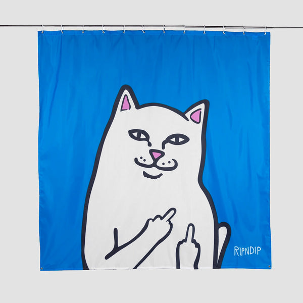 Ripndip Lord Nermal Shower Curtain Blue