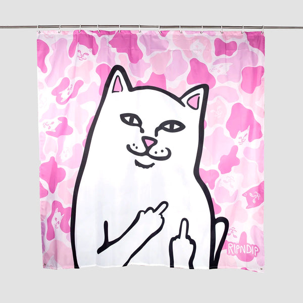 Ripndip Lord Nermal Shower Curtain Pink Camo