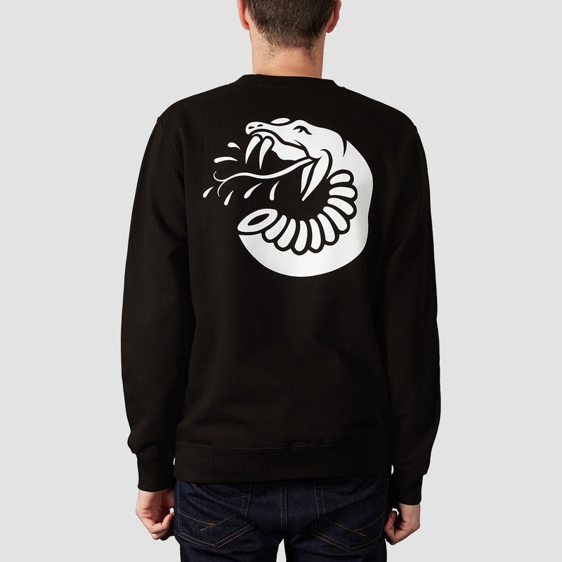 Rollersnakes Spitting Snake Crew Sweat Black - Clothing