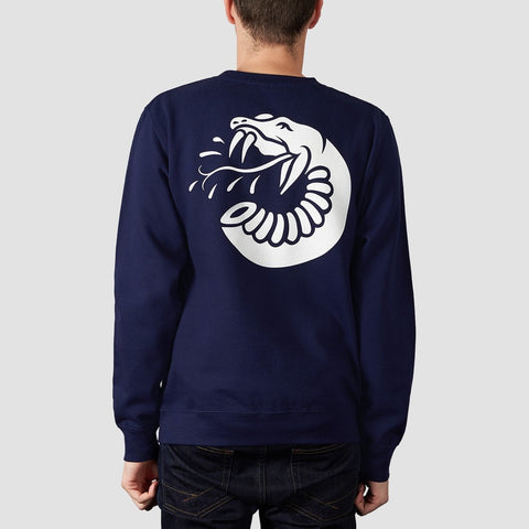 Rollersnakes Spitting Snake Crew Sweat Navy - Clothing