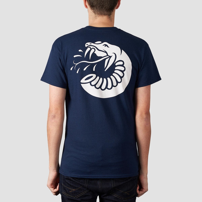 Rollersnakes Spitting Snake Tee Navy - Clothing