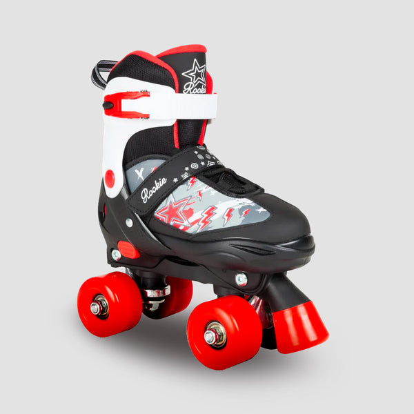 Rookie Ace Junior Adjustable Quad Skates Black/Red - Kids