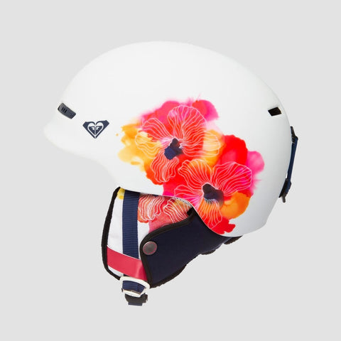 Roxy Angie Snow Helmet Bright White Aquarel Flowers - Womens - Snowboard