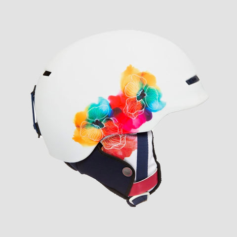 Roxy Angie Snow Helmet Bright White Aquarel Flowers - Womens