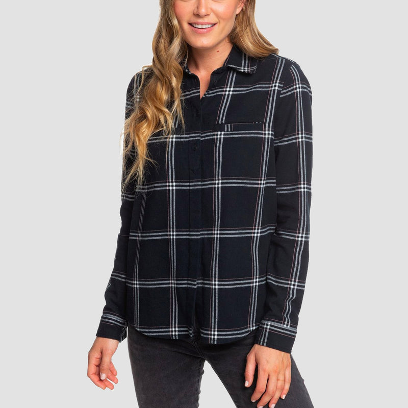 Roxy Campay Longsleeve Shirt Anthracite Basic Plaid - Womens