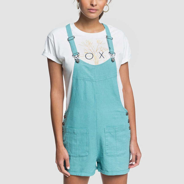 Roxy Compass Direction Linen Dungaree Shorts Canton - Womens