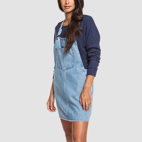 Roxy Early Evening Denim Dungaree Dress Light Blue - Womens