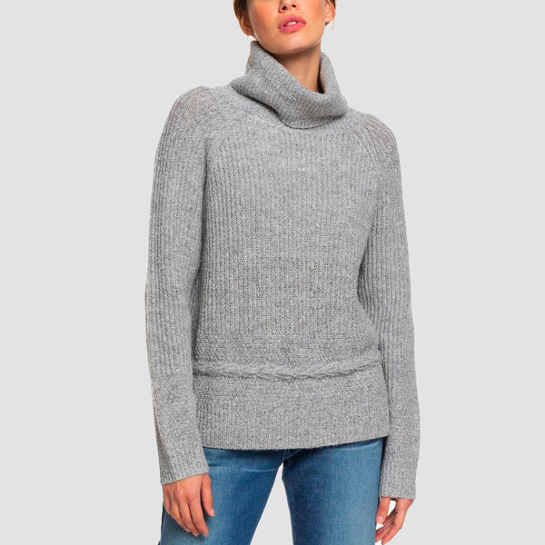 Roxy Five Reasons To Stay Turtle Neck Jumper Heritage Heather - Womens
