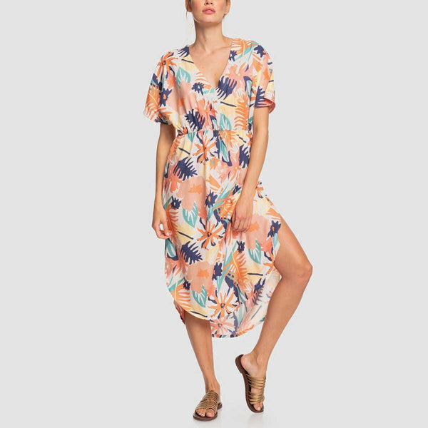 Roxy Flamingo Shades Midi Dress Peach Blush Bright Skies - Womens