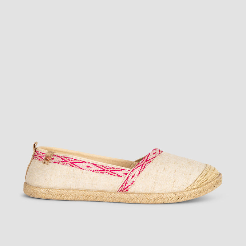 Roxy Flora Slip-On Natural/Crazy Pink - Womens