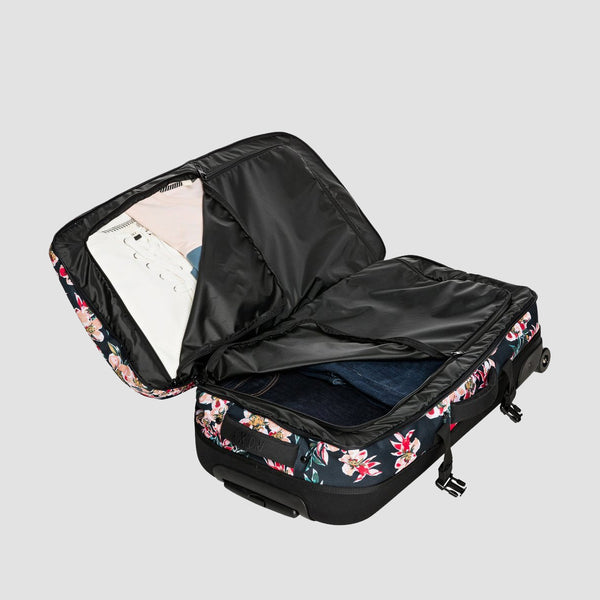 Roxy Fly Away Too 100L Wheeled Suitcase Anthracite Wonder Garden S - Womens