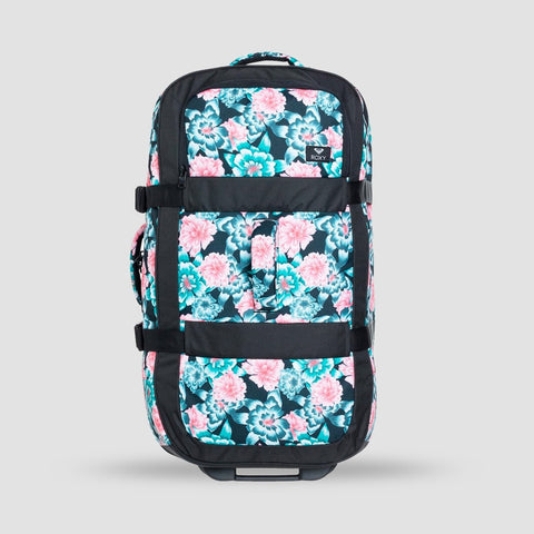 Roxy In The Clouds 87L Wheelie Suitcase Anthracite S Crystal Flower - Womens