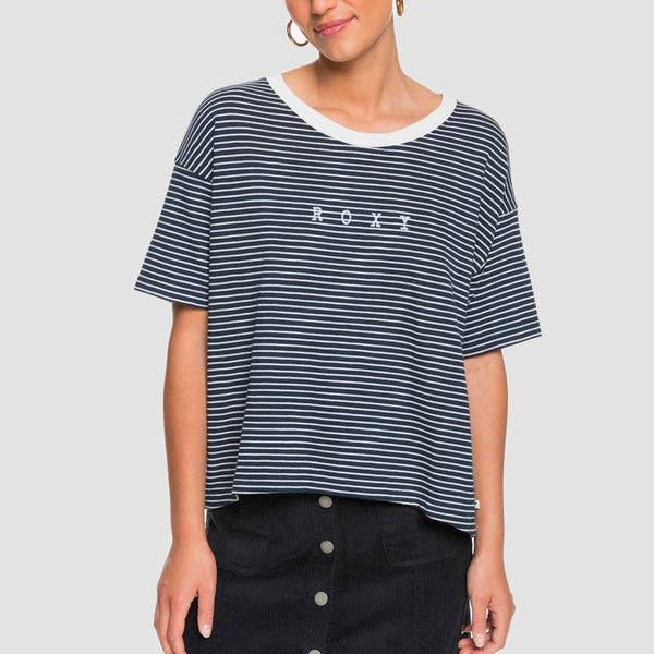 Roxy Infinity Is Beautiful B Tee Mood Indigo ME Stripes - Womens