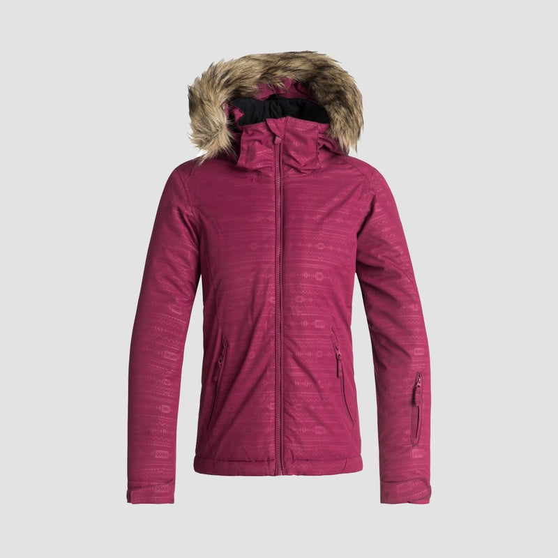 Roxy Jet Ski Embossed Snow Jacket Beet Red/Indie Stripes Emboss - Kids - Snowboard