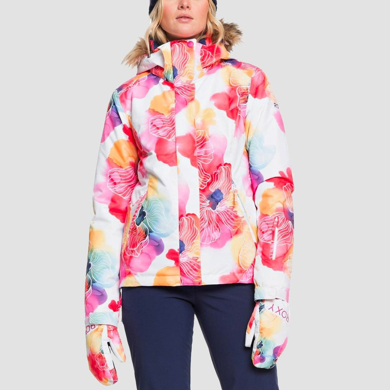 Roxy Jet Ski Snow Jacket Bright White Aquarel Flowers - Womens - Snowboard