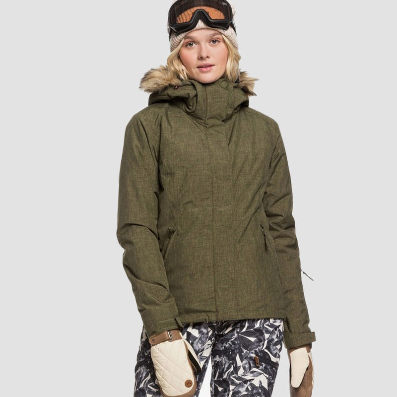 Roxy Jet Ski Solid Snow Jacket Ivy Green - Womens