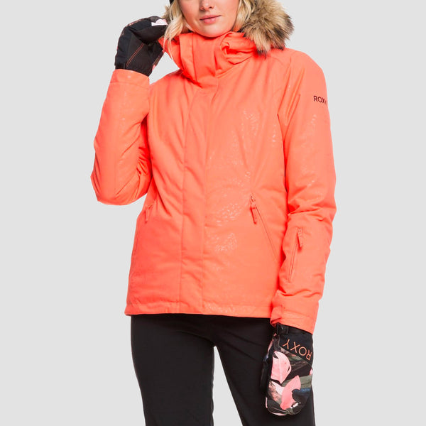 Roxy Jet Ski Solid Snow Jacket Living Coral Arrow Feel Emboss - Womens