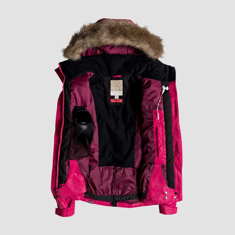 Roxy Jet Ski Solid Snow Jacket Tea Berry/Kerala Emboss - Womens - Snowboard