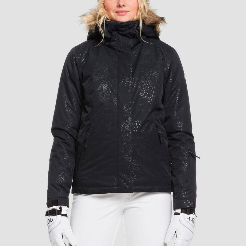 Roxy Jet Ski Solid Snow Jacket True Black Arrow Feel Emboss - Womens - Snowboard