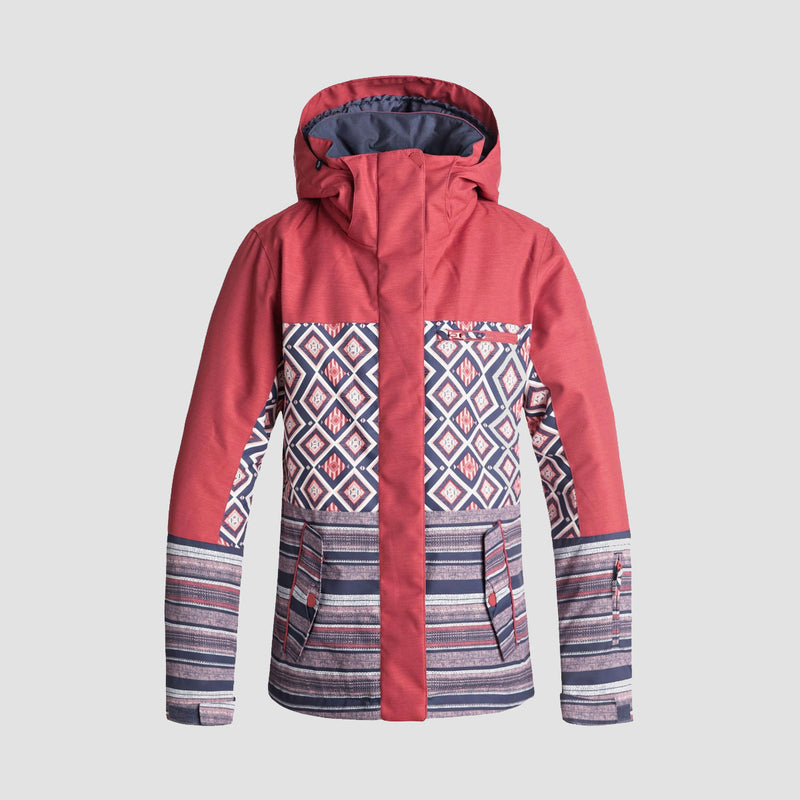 Roxy Jetty Block Snow Jacket Dusty Cedar Edit Song Geo - Womens