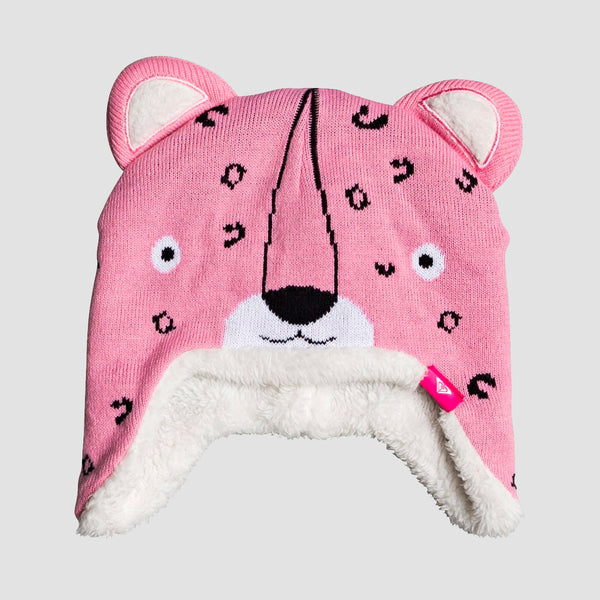 Roxy Leopard Earflap Animal Beanie Prism Pink - Girls