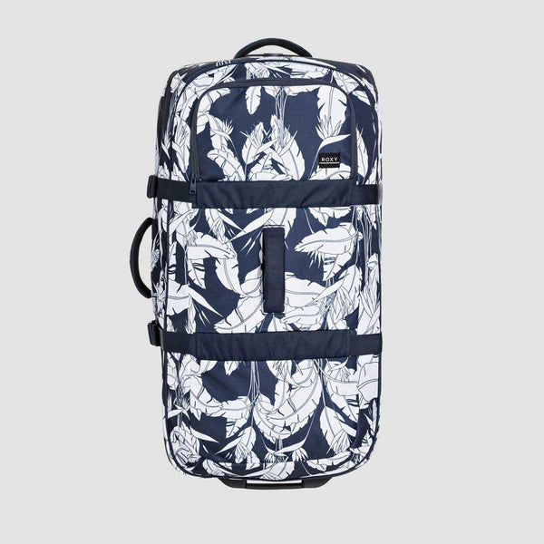 Roxy Long Haul 105L Wheeled Suitcase Mood Indigo Flying Flowers S - Womens