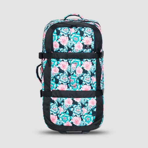 Roxy Long Haul 105L Wheelie Suitcase Anthracite S Crystal Flower - Womens