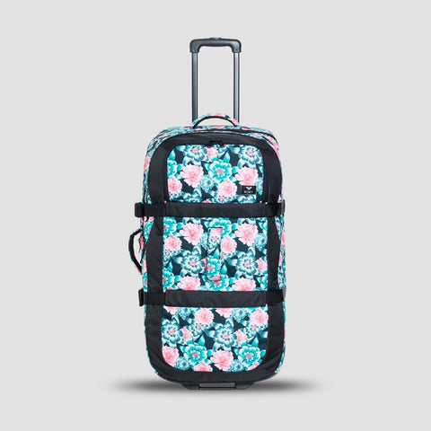 Roxy Long Haul 105L Wheelie Suitcase Anthracite S Crystal Flower - Womens - Accessories