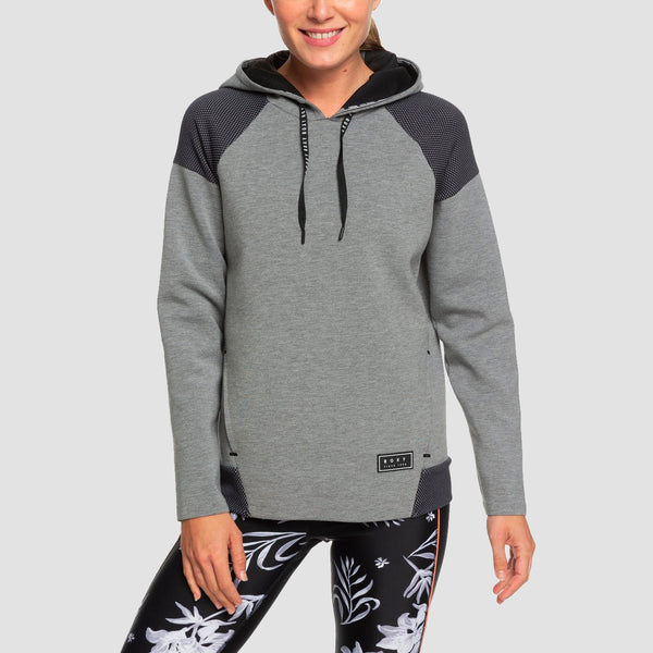 Roxy Midnight Call Bonded Pullover Hood Charcoal Heather - Womens