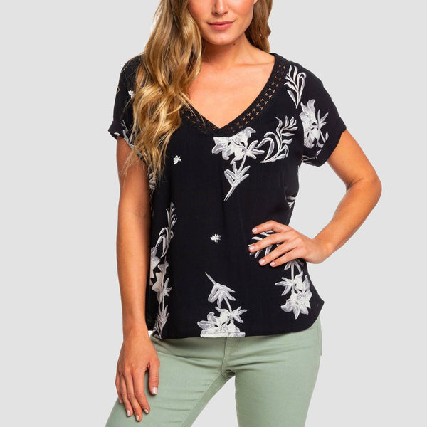 Roxy New Break Evasion V-Neck Top Anthracite Bicolys - Womens
