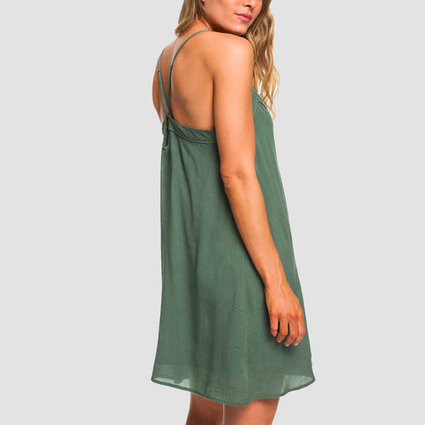 Roxy Off We Go Dress Duck Green - Womens