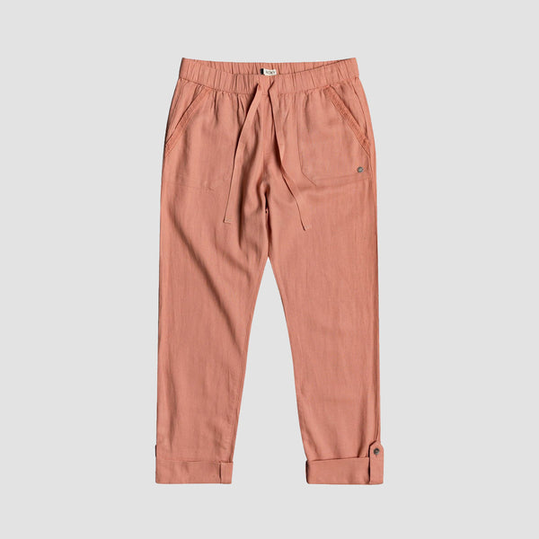 Roxy On The Seashore Elasticated Linen Trousers Cafe Creme - Womens