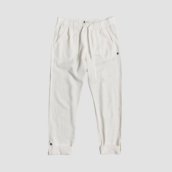 Roxy On The Seashore Elasticated Linen Trousers Snow White - Womens