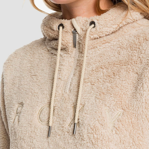 Roxy Pluma Sherpa Half Zip Pullover Hood Oyster Grey - Womens - Clothing