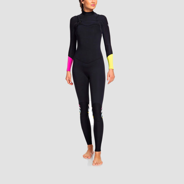 Roxy POP Surf 3/2mm Chest Zip Wetsuit Black I - Womens