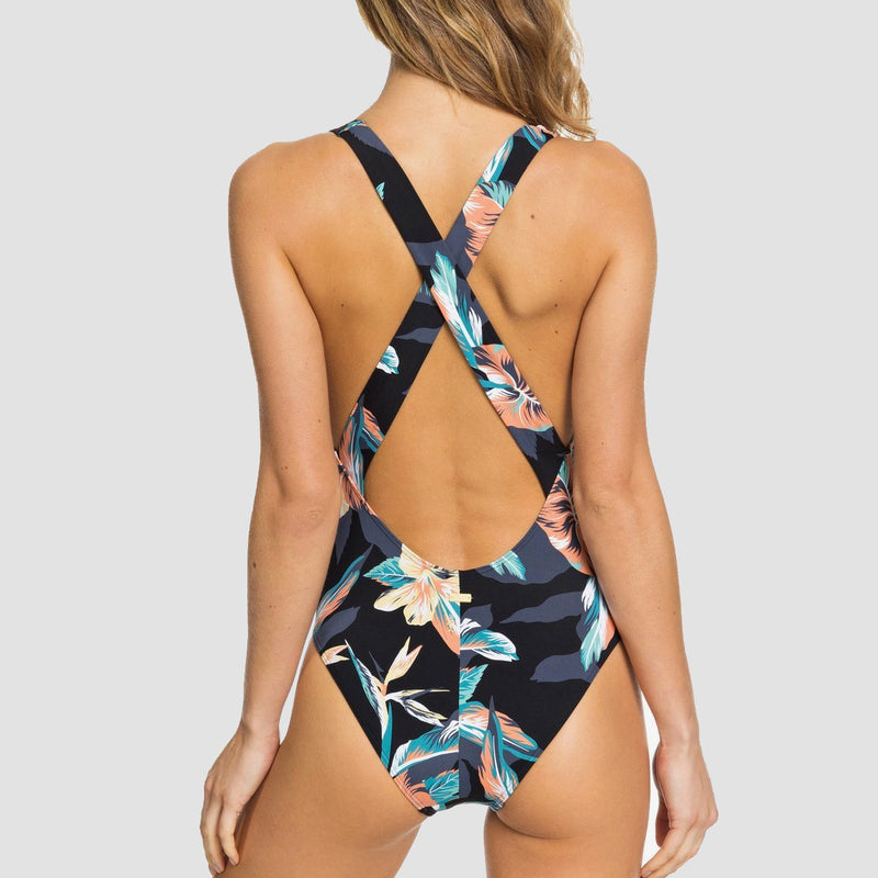 Roxy Printed Beach Classics One-Piece Swimsuit Anthracite Tropicoco S - Womens