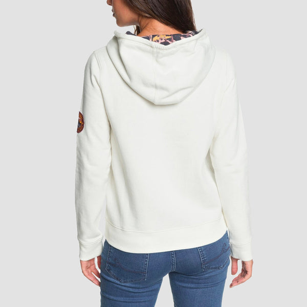 Roxy Retro Feels Pullover Hood Marshmallow - Womens